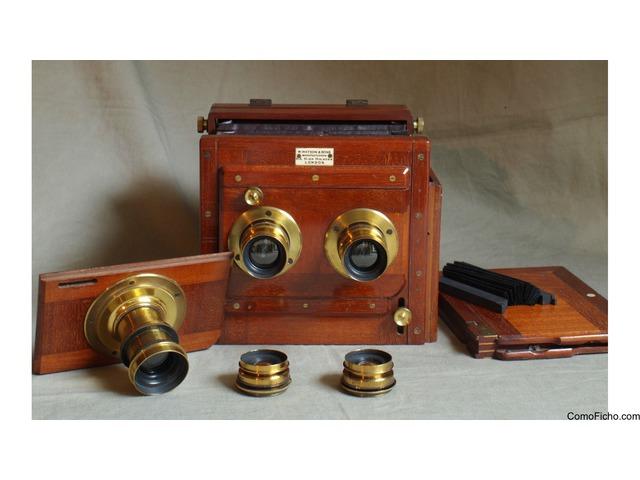 Watson 1/2 plate Stereo mahogany plate camara c1895